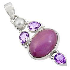 18.15cts natural purple phosphosiderite (hope stone) 925 silver pendant d43888