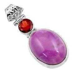 15.85cts natural purple phosphosiderite (hope stone) 925 silver pendant d43891
