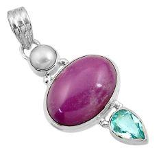 14.26cts natural purple phosphosiderite (hope stone) 925 silver pendant d43894