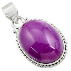 17.22cts natural purple phosphosiderite (hope stone) 925 silver pendant d43897
