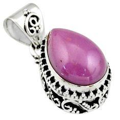 6.36cts natural purple phosphosiderite (hope stone) 925 silver pendant r19045