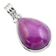 14.62cts natural purple phosphosiderite (hope stone) 925 silver pendant r44662