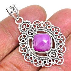 5.08cts natural purple phosphosiderite (hope stone) 925 silver pendant r93910