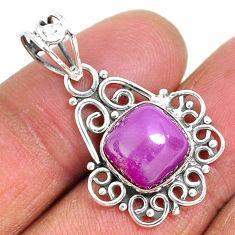 4.89cts natural purple phosphosiderite (hope stone) 925 silver pendant r93912