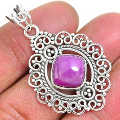 10.02cts natural purple phosphosiderite (hope stone) 925 silver pendant r93915