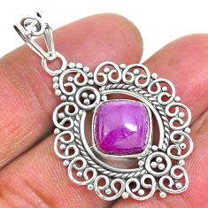 5.38cts natural purple phosphosiderite (hope stone) 925 silver pendant r93918