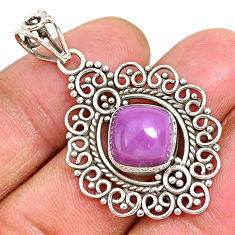 5.28cts natural purple phosphosiderite (hope stone) 925 silver pendant r93921