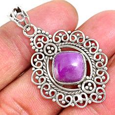 5.52cts natural purple phosphosiderite (hope stone) 925 silver pendant r93923