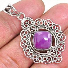 5.52cts natural purple phosphosiderite (hope stone) 925 silver pendant r93925