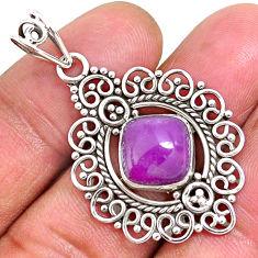 5.38cts natural purple phosphosiderite (hope stone) 925 silver pendant r93926