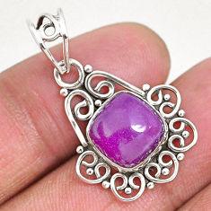5.52cts natural purple phosphosiderite (hope stone) 925 silver pendant r93931