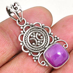 5.03cts natural purple phosphosiderite (hope stone) 925 silver pendant r93933