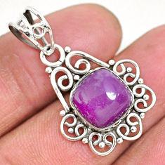 5.84cts natural purple phosphosiderite (hope stone) 925 silver pendant r93935