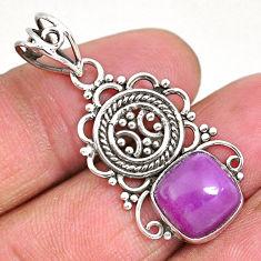 5.24cts natural purple phosphosiderite (hope stone) 925 silver pendant r93936
