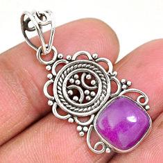 5.23cts natural purple phosphosiderite (hope stone) 925 silver pendant r93937