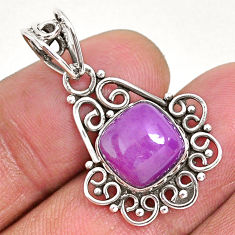4.75cts natural purple phosphosiderite (hope stone) 925 silver pendant r93939
