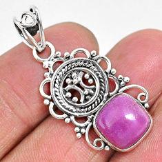 4.99cts natural purple phosphosiderite (hope stone) 925 silver pendant r93940