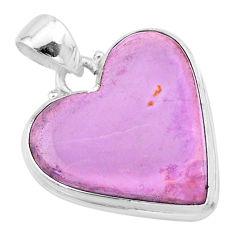 15.65cts natural purple phosphosiderite (hope stone) 925 silver pendant t13422
