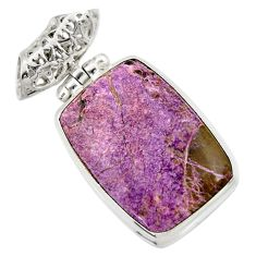 17.22cts natural purple purpurite 925 sterling silver pendant jewelry d42164