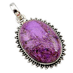 16.70cts natural purple purpurite 925 sterling silver pendant jewelry r27655