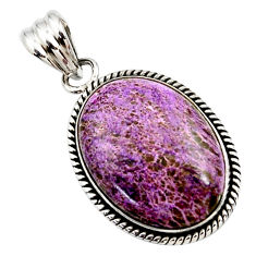18.15cts natural purple purpurite 925 sterling silver pendant jewelry r27656