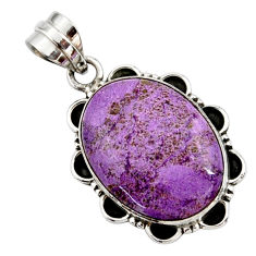 15.08cts natural purple purpurite 925 sterling silver pendant jewelry r27659