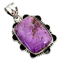 15.08cts natural purple purpurite 925 sterling silver pendant jewelry r27669