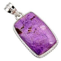 14.68cts natural purple purpurite 925 sterling silver pendant jewelry r27672