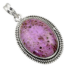 21.72cts natural purple purpurite 925 sterling silver pendant jewelry r31941