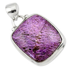 11.57cts natural purple purpurite 925 sterling silver pendant jewelry r46321