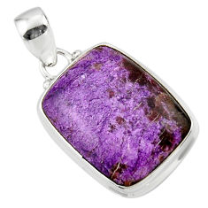 14.10cts natural purple purpurite 925 sterling silver pendant jewelry r46335