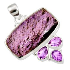 22.05cts natural purple purpurite amethyst 925 sterling silver pendant d44206