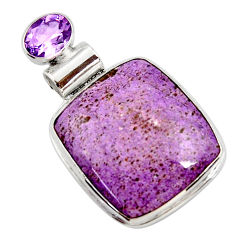 17.57cts natural purple purpurite amethyst 925 sterling silver pendant r27647