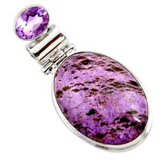 16.20cts natural purple purpurite amethyst 925 sterling silver pendant r27649