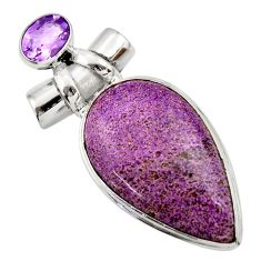 22.59cts natural purple purpurite amethyst 925 sterling silver pendant r32140