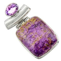 18.70cts natural purple purpurite amethyst 925 sterling silver pendant r41698