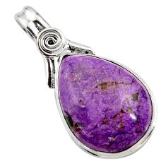 15.65cts natural purple purpurite pear 925 sterling silver pendant r27662