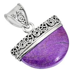 13.85cts natural purple purpurite stichtite 925 sterling silver pendant r85021