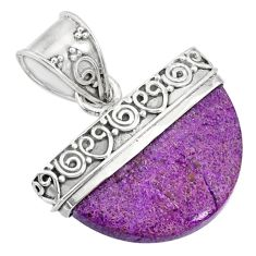 12.60cts natural purple purpurite stichtite 925 sterling silver pendant r85022