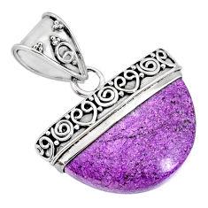13.09cts natural purple purpurite stichtite 925 sterling silver pendant r85079