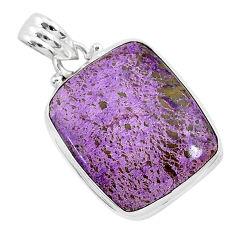 13.70cts natural purple purpurite stichtite 925 sterling silver pendant r94808