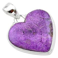 15.08cts heart purple purpurite stichtite 925 sterling silver pendant t23001