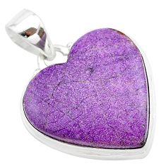 15.65cts heart purple purpurite stichtite 925 sterling silver pendant t23002