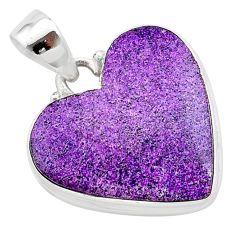 15.08cts heart purple purpurite stichtite 925 sterling silver pendant t23003