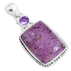 15.65cts natural purple purpurite stichtite amethyst 925 silver pendant r94209