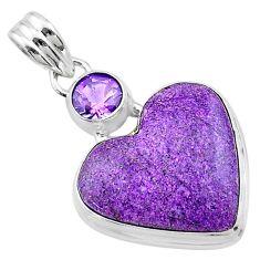 13.70cts heart purple purpurite stichtite amethyst 925 silver pendant t23081