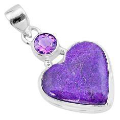 12.22cts heart purple purpurite stichtite amethyst 925 silver pendant t23083