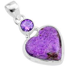12.55cts heart purple purpurite stichtite amethyst 925 silver pendant t23085