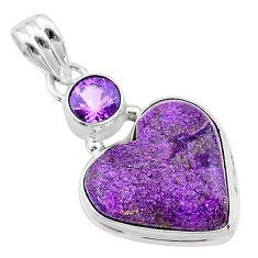 10.65cts heart purple purpurite stichtite amethyst 925 silver pendant t23087