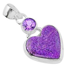 11.20cts heart purple purpurite stichtite amethyst 925 silver pendant t23088